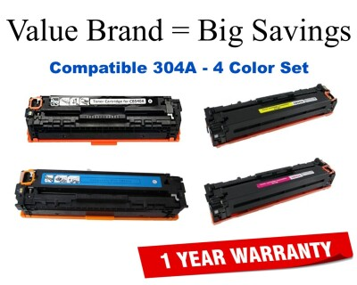 304A 4-Color Set Compatible Value Brand toner CC530A,CC531A,CC532A,CC533A