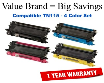 TN115 High Yield Color Set Compatible Value Brand replaces Brother TN115BK,TN115C,TN115M,TN115Y