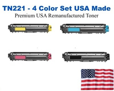 TN221 Color Set USA Made Remanufactured Brother toner TN221BK, TN221C, TN221M,TN221Y
