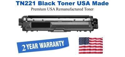 TN221BK Black Premium USA Made Remanufactured Brother toner