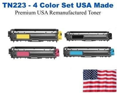 TN223 Color Set USA Made Remanufactured Brother toner TN223BK,TN223C,TN223M,TN223Y