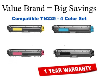 TN225 High Yield Color Set Compatible Value Brand replaces Brother TN221BK,TN225C,TN225M,TN225Y