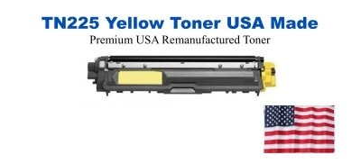 TN225Y Yellow Premium USA Made Remanufactured Brother toner