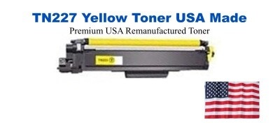 TN227Y Yellow Premium USA Made Remanufactured Brother toner
