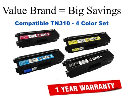 TN310 Color Set Compatible Value Brand replaces Brother TN310BK,TN310C,TN310M,TN310Y