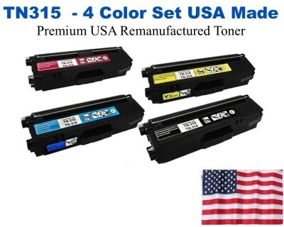 TN315 High Yield Color Set USA Made Remanufactured Brother toner TN315BK,TN315C,TN315M,TN315Y
