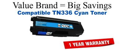 Brother TN336 High Yield Cyan Remanufactured Toner Cartridge
