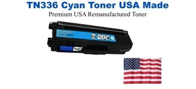 TN336C Cyan Premium USA Made Remanufactured Brother toner