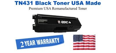 TN431BK Black Premium USA Made Remanufactured Brother toner