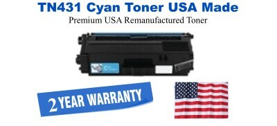 TN431C Cyan Premium USA Made Remanufactured Brother toner