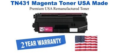 TN431M Magenta Premium USA Made Remanufactured Brother toner