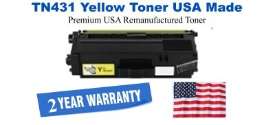TN431Y Yellow Premium USA Made Remanufactured Brother toner