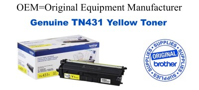 TN431Y Brother Original Yellow Toner HL-L8260CDW L8360CDW L8360CDWT, MFC-L8610CDW L8900CDW