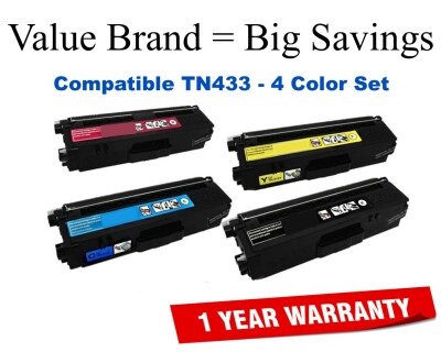 TN433 High Yield Color Set Compatible Value Brand replaces Brother TN433BK,TN433C,TN433M,TN433Y
