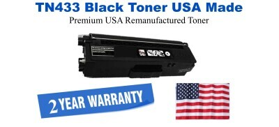 TN433BK Black Premium USA Made Remanufactured Brother toner