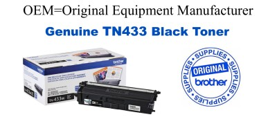 TN433BK Brother Original Black Toner HL-L8260CDW L8360CDW L8360CDWT, MFC-L8610CDW L8900CDW