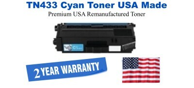 TN433C Cyan Premium USA Made Remanufactured Brother toner