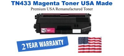 TN433M Magenta Premium USA Made Remanufactured Brother toner