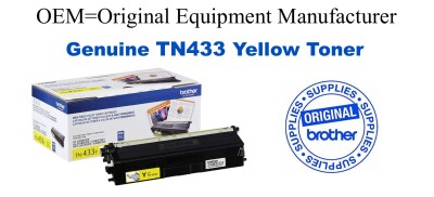TN433Y Brother Original Yellow Toner HL-L8260CDW L8360CDW L8360CDWT, MFC-L8610CDW L8900CDW
