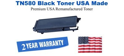 TN580 Black Premium USA Made Remanufactured Brother toner