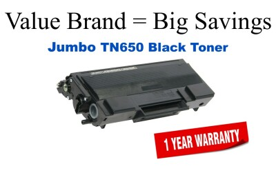 TN650 Jumbo Black Compatible Value Brand Brother Jumbo Toner 70% Higher Yield