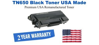 TN650 Black Premium USA Made Remanufactured Brother toner