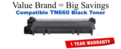 TN660 Black Compatible Value Brand Brother toner