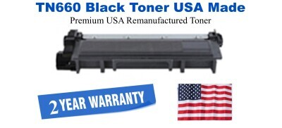 TN660 Black Premium USA Made Remanufactured Brother toner