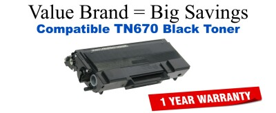 TN670 Black Compatible Value Brand Brother toner
