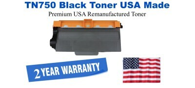 TN750 Black Premium USA Made Remanufactured Brother toner