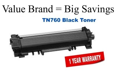 Brother TN760 Black Remanufactured Toner Cartridge