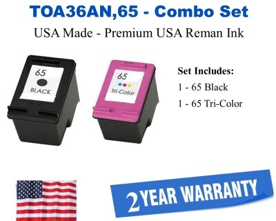 TOA36AN Black and Color Combo Premium USA Made Remanufactured HP Ink T0A36ANXL,65,65XL