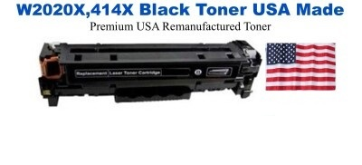 W2020X,414X High Yield Black Premium USA Made Remanufactured HP toner