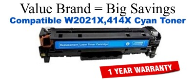 W2021X,414X High Yield Cyan Compatible Value Brand toner
