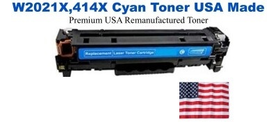 W2021X,414X High Yield Cyan Premium USA Made Remanufactured HP toner