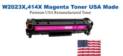W2023X,414X High Yield Magenta Premium USA Made Remanufactured HP toner