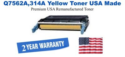 q7562a,314A Yellow Premium USA Made Remanufactured HP toner