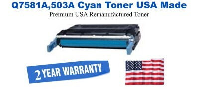 q7581a,503A Cyan Premium USA Made Remanufactured HP toner